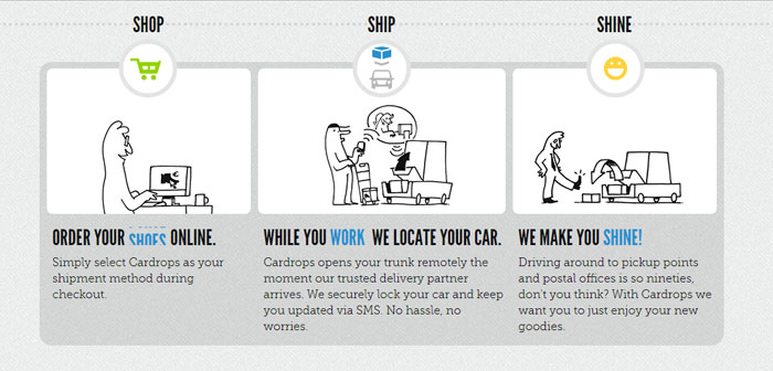 Cardrops es otra empresa especializada en este tipo de servicio, aunque su enfoque incide especialmente sobre los artículos de e-commerce, no el reparto de comida.