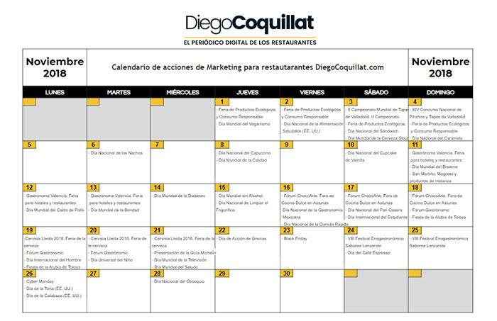 Calendario D.November 2018 Marketing Activities Calendar For Restaurants