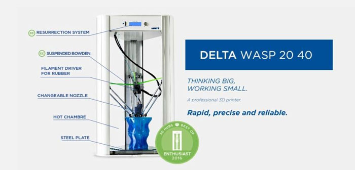 Precisa y ad alto rendimiento con cualquier tipo de material gracias a un sistema de aire cerrado y cama caliente. Impresora profesional y compacta, imprime hasta 40cm de altura.