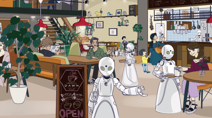 The conceptual idea of the restaurant leaves Eve no Jikan anime set in a future where robots are part of everyday life, and where a moral dichotomy represented by those citizens who treat robots as mere tools and people who treat such machines is presented as equal. One of locations in which the story is a bar where humans and robots coexist on an equal footing.
