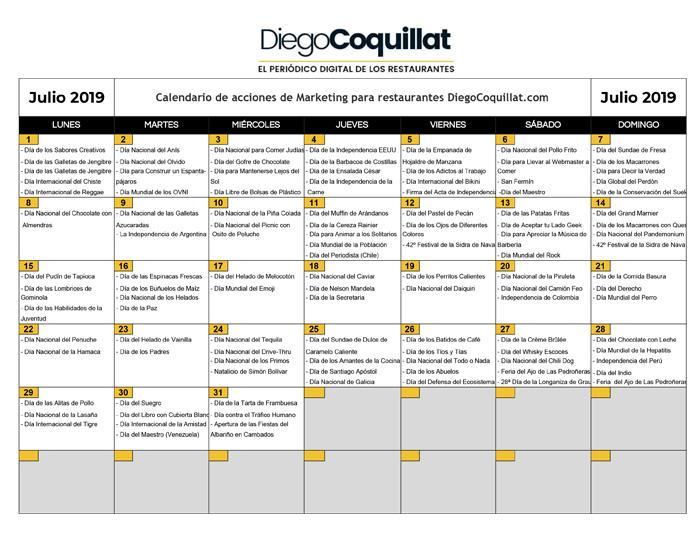 Julio Calendario.Julio De 2019 Calendario De Acciones De Marketing Para Restaurantes