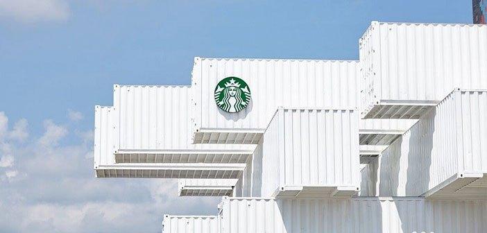 La nueva apuesta sostenible de Starbucks es la arquitectura con contenedores intermodales