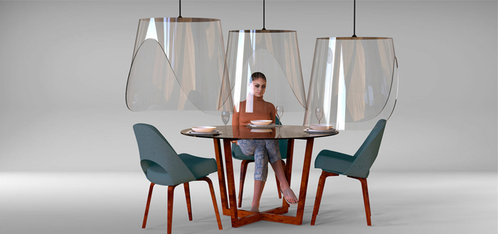 Lámparas de plástico como escudo individual frente al virus, el invento de un restaurante de París