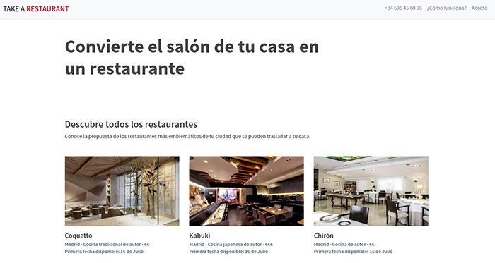 At Take a Restaurant they don't want to limit themselves to bringing food to their clients' homes, they want them to enjoy the full restaurant experience, with the waiter's attention included.