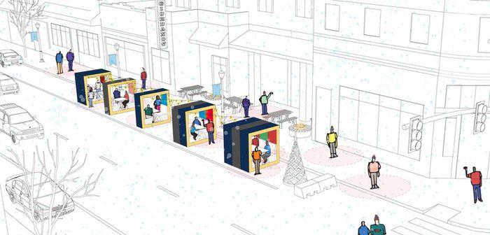 La competición de diseño Desafío de restauración invernal de la ciudad de Chicago tenía como objetivo ofrecer alternativas a los restaurantes que con el frío ya no podrían ofrecer sus servicios en la terraza como habitualmente lo hacen.
