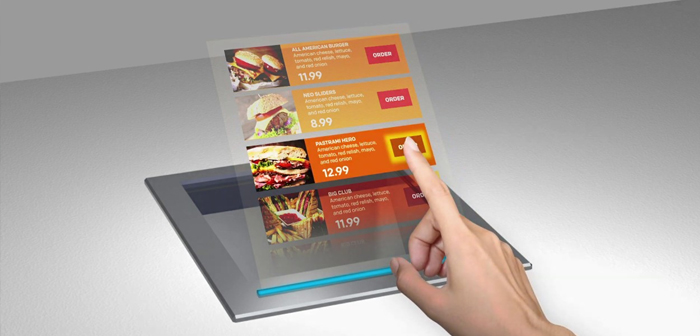 Project the menu in the air via holography, the next step in contactless technology for restaurants