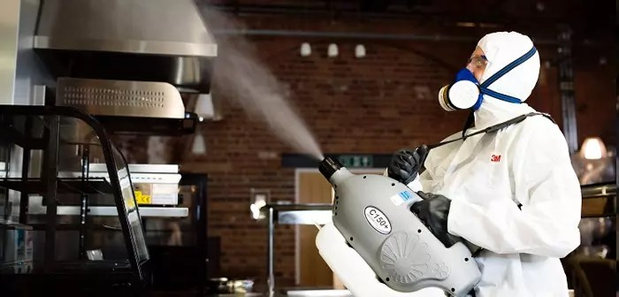 Cleaning staff use handheld foggers to spray a gentle mist on all surfaces likely to be touched by visitors (pomos, chairs, tables, etc).