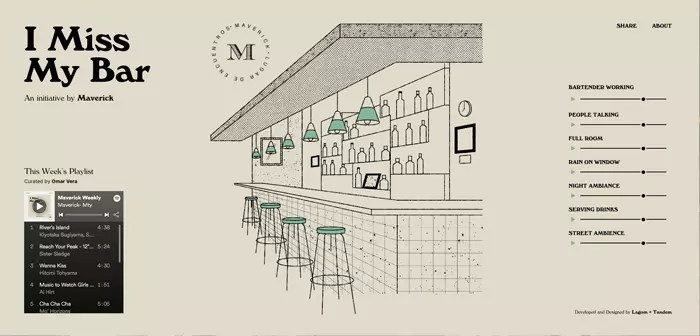 The Maverick has released an album with the typical sounds of the cocktail bar: the rumor of people talking, background music attenuated by distance and furniture, the clink of glasses and cutlery behind the bar, etc.