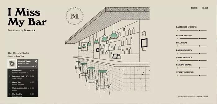 El Maverick ha lanzado un disco con los sonidos típicos de la coctelería: el rumor de las personas conversando, la música de fondo atenuada por la distancia y el mobiliario, el tintineo de las copas y cubertería tras la barra, etcétera.