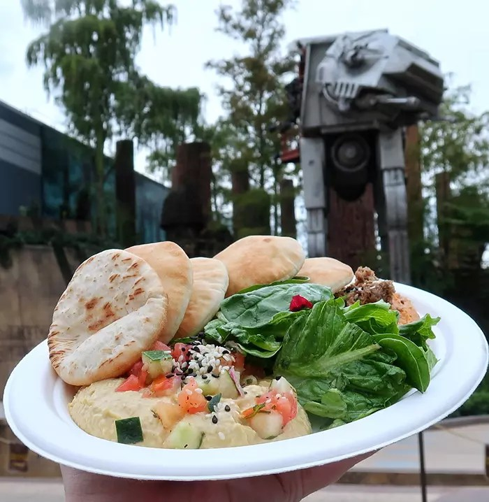 Dishes, specially designed to be consistent with the Disney universe, have such interesting recipes such as hummus two suns of Tatooine, inspiring on the desert planet of the Star Wars saga.