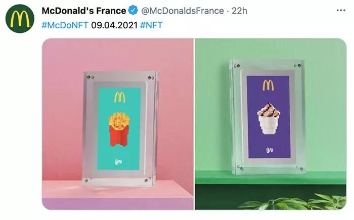 La branche française de McDonald's a annoncé via son compte Instagram le lancement de deux vidéos NFT dans lesquelles un Big Mac et un McNuggest à l'esthétique 8 bits étaient représentés.