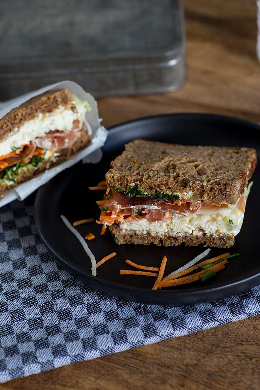 Schinken Gemüse Sandwich für die Arbeit - Essen to go fürs Büro ...
