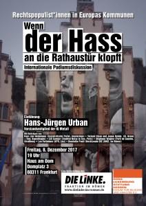 "Ankündigung zur Veranstaltung ""Wenn der Hass an die Rathaustür klopft"" zu Rechtspopulismus in europäischen Kommunalparlamenten am 8. Dezember 2017"