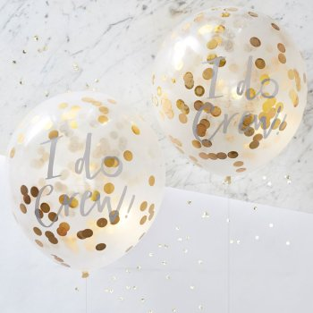 """5 er Set Ballons mit der Aufschrift """" I do Crew"""" und gefuellt mit goldenem Konfetti."""