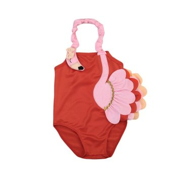 Kinderbadeanzug Flamingo korallenrot mit Flamingo Applikation von die Macherei