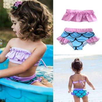 Kinderbikini Meerjungfrau Design rosa & hellblau von Die Macherei
