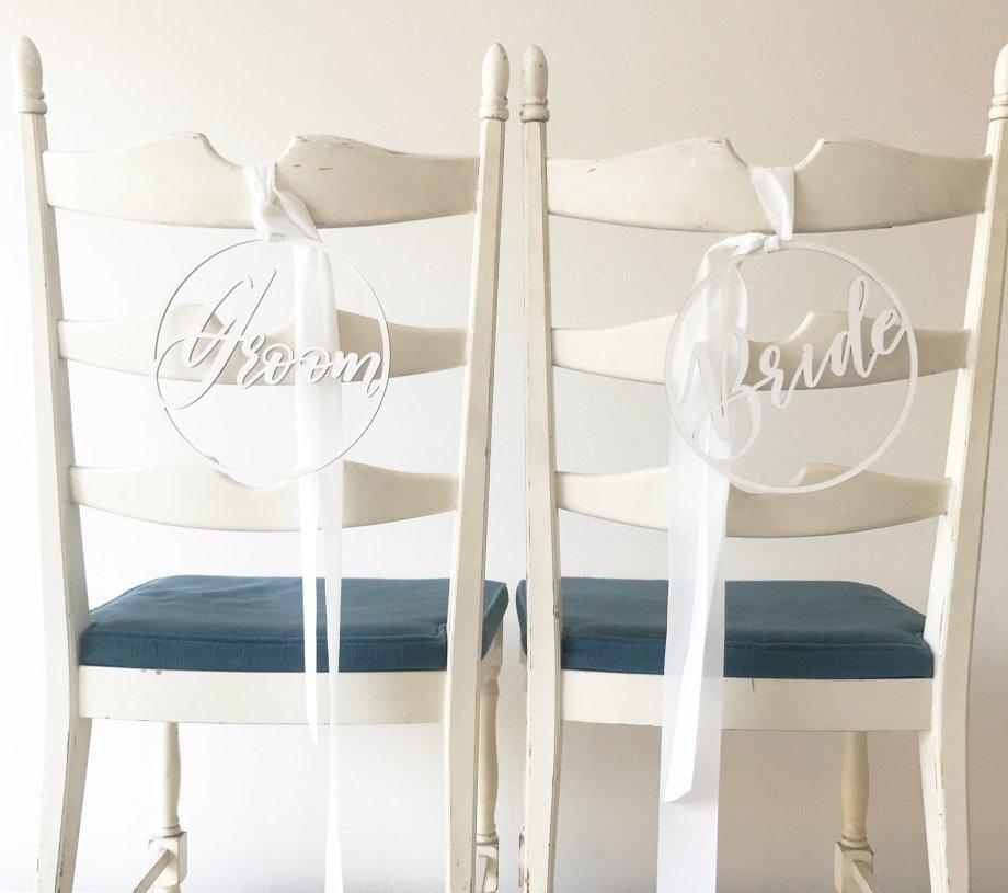 Stuhschild Sesselschild Bride Groom für eine Hochzeit von Die Macherei