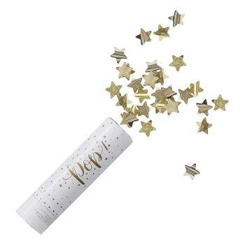 Tolle Confetti Kanone mit Sternen in Gold. Die Macherei