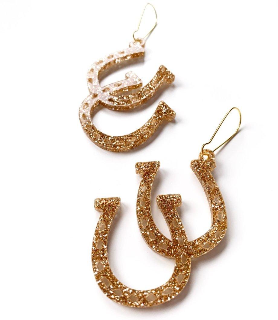 Ohrringe Hufeisen glitzer gold. Die Macherei
