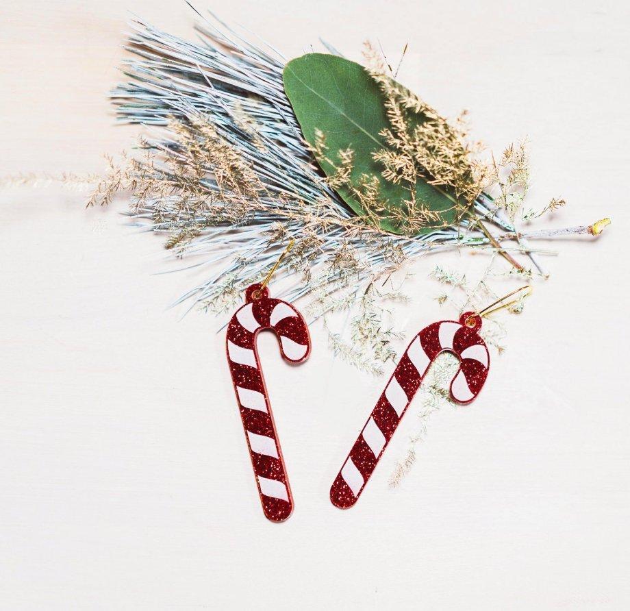 Weihnachtsohrringe Zuckerstange rot glitzer . Die Macherei