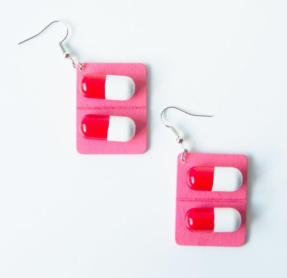 Ohrringe Pillen rosa