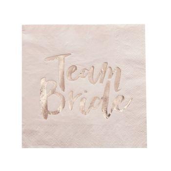 """Pinke Papierservietten """"Team Bride"""" rosegold. Die Machereii"""