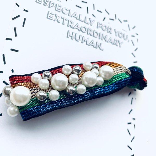 Harrgummi Armband Regenbogen Perlen DIe Macherei