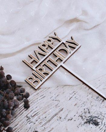 Caketopper Happy Birthday straight