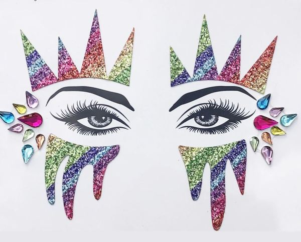 Augen Aufkleber Multicolor Glitter