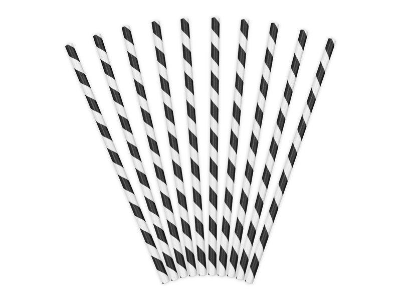 Papier Strohhalme schwarz weiß