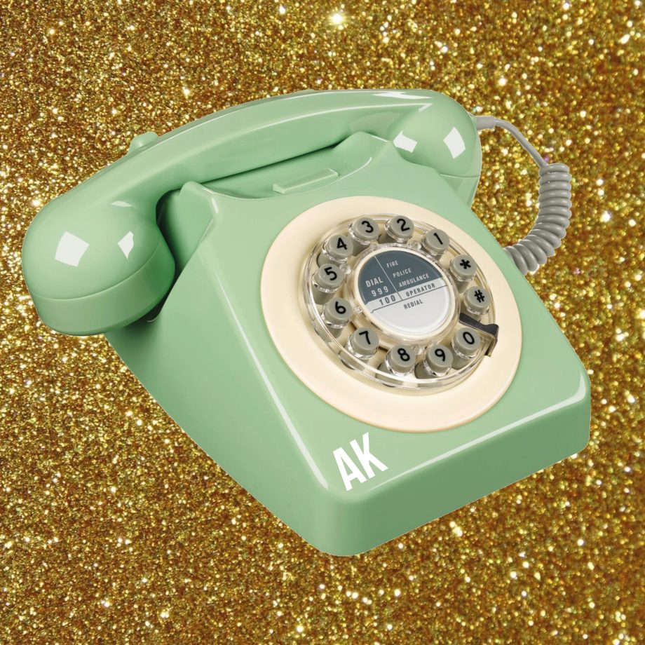 50s Retro Telefon Minty personalisierbar