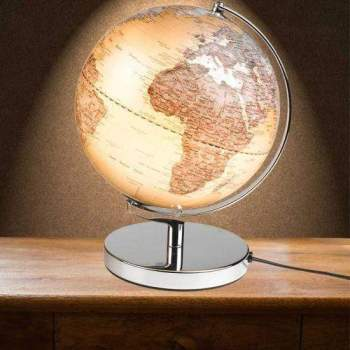 Wanderlust Mini Globuslampe Silber
