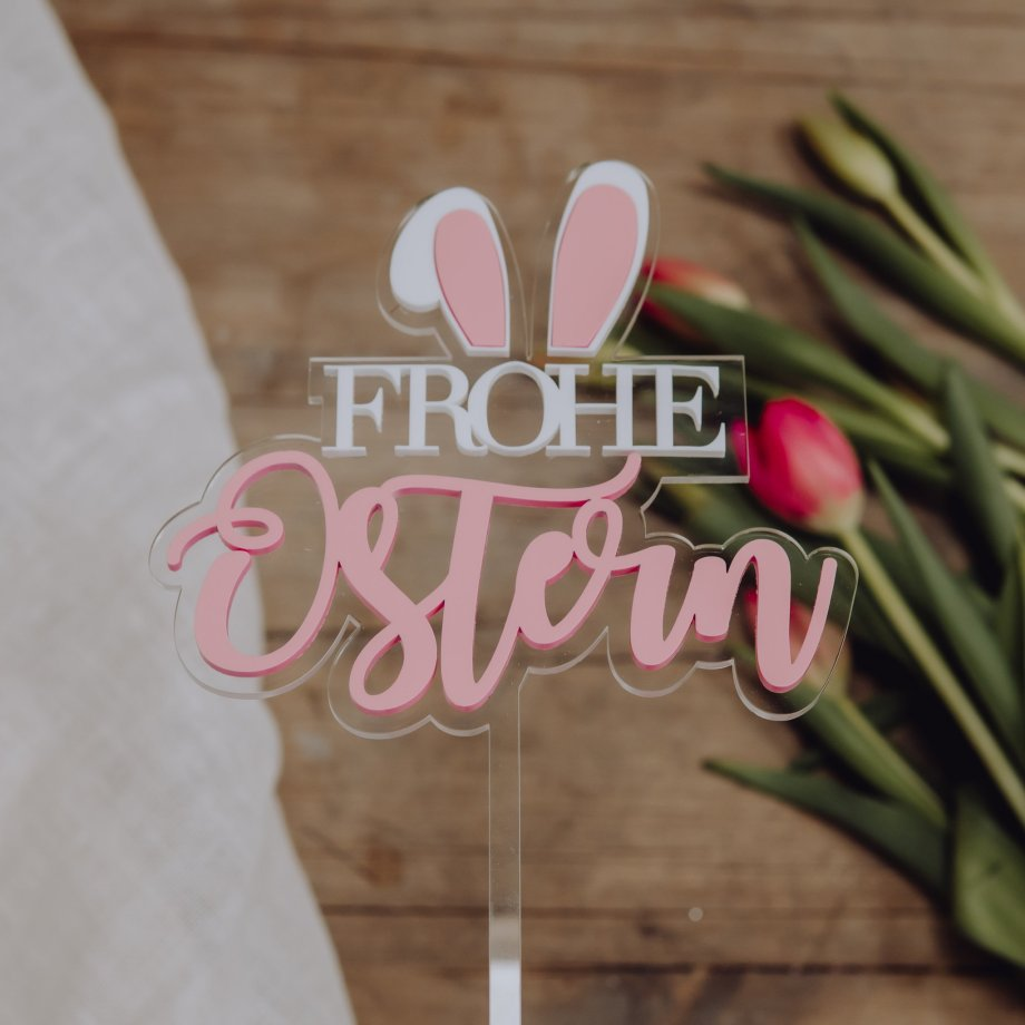 """Caketopper """"Frohe Ostern Pastell"""" zweilagig"""