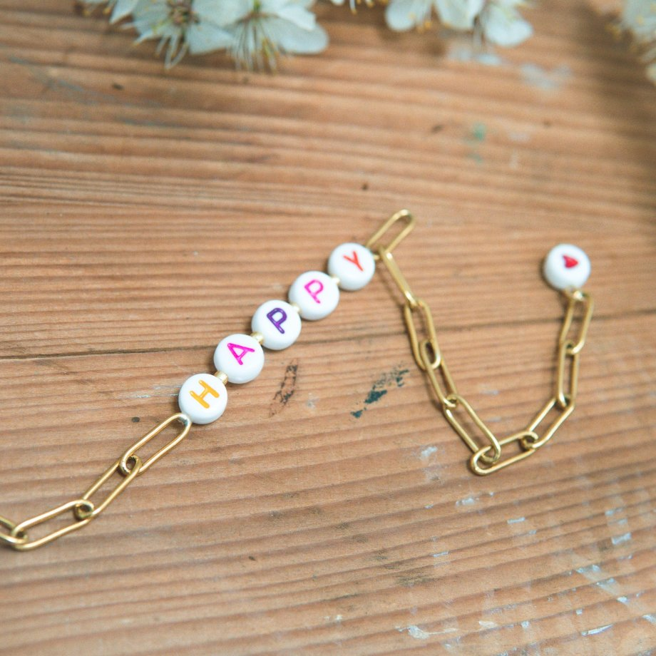 Arm Candy Gliederarmband HAPPY Gold