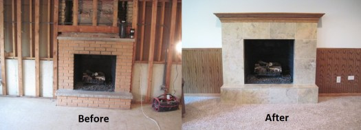Basement Remodeling Fireplace Before and After