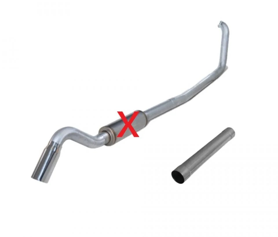 diamond eye 4 aluminized turbo back single turn down exhaust kit 99 03 7 3l ford powerstroke