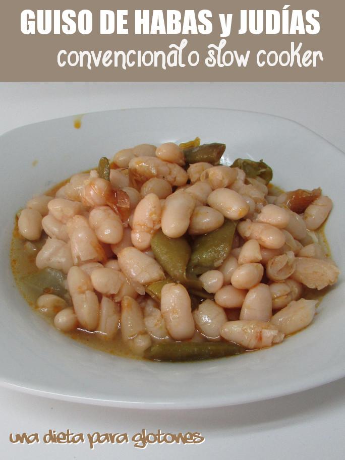 Guiso de habas con judías (convencional o slow cooker)