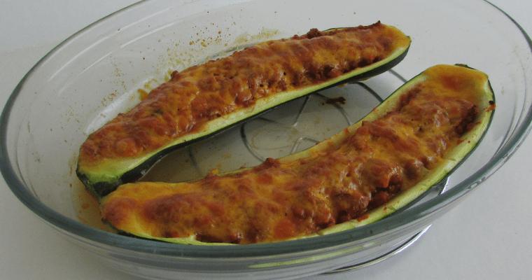 Calabacín gratinado con boloñesa