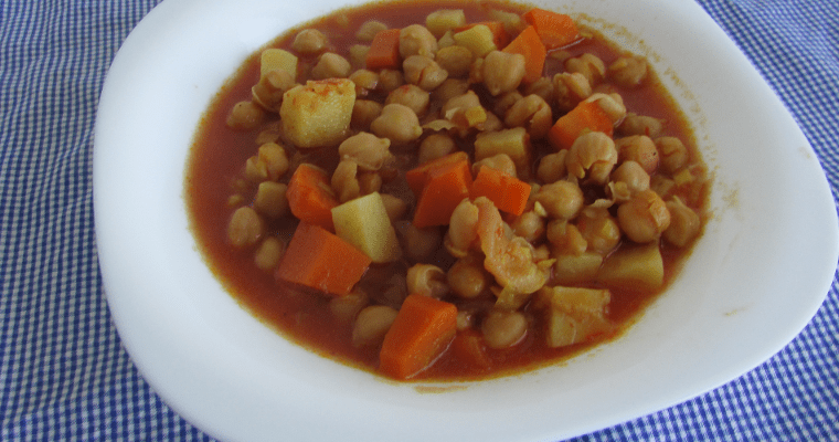 Curry vegano de garbanzos, en slow cooker
