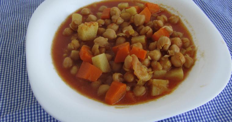 Curry vegano de garbanzos, en slow cooker