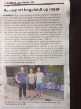 krantenartikel in Krant van West-Vlaanderen met samenwerking met Revasport