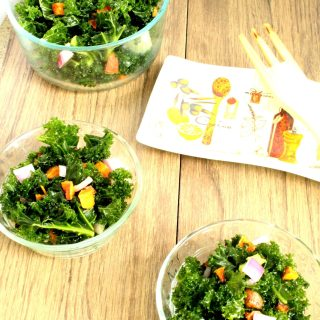 Simple Massaged Kale Salad with Sweet Potatoes