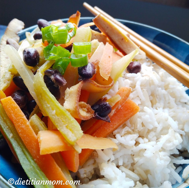Vegan, vegetarian, plant-based, egg-free, dairy-free, asian easy sesame tofu with black beans meal entree recipe