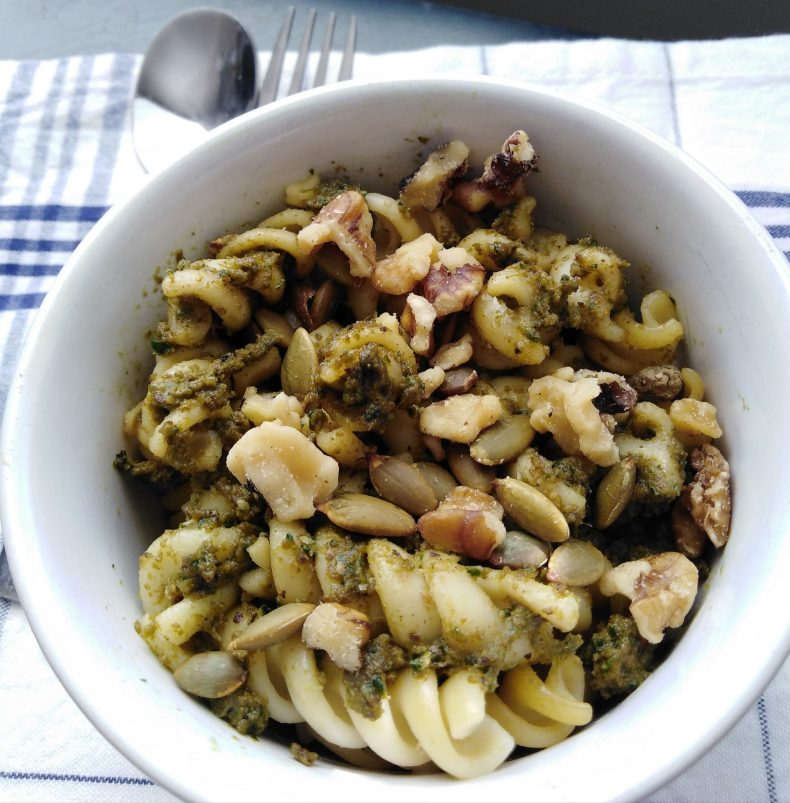 Vegan, vegetarian, plant-based, egg-free, dairy-free, soy-free, gluten-free, easy toasted walnut basil and kale pesto, quick meal ideas, nutritious, healthy lunch recipes, family dinner ideas, meal prep recipe