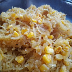 Vegan, vegetarian, plant-based, egg-free, dairy-free, sides, Toasted Corn and Spaghetti Squash recipe