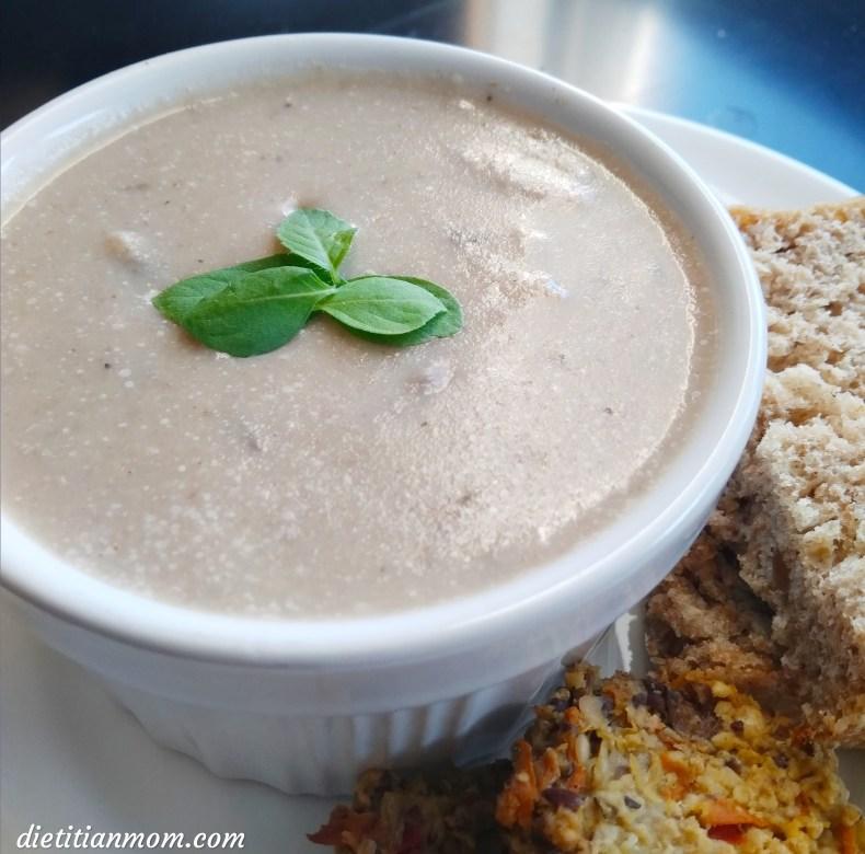 Vegan, plant-based, egg-free, nut-free, dairy-free, gluten-free, easy, simple, creamy vegan mushroom soup recipe, sides, meal ideas, vegan soup, vegetarian
