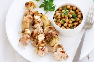 Chicken, Lemon And Artichoke Skewers