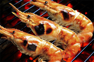 Spice Dusted Grilled Prawns with Cocktail Sauce