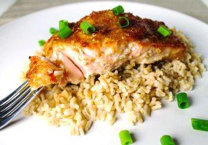 salmon with teriyaki & ginger sauce