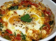 Low-Calorie Baked Eggs with Tomatoes and Bell Pepper Recipe